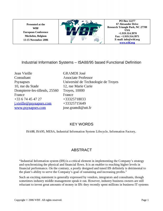 2006 - WBFeu - Industrial Information Systems - ISA8895 based Functional Definition.doc