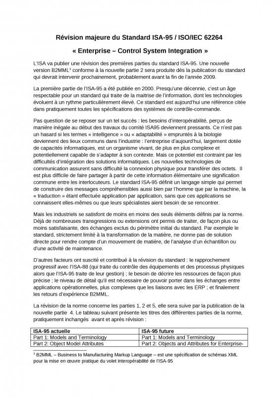 2009 - ISAFlash - Révision majeure du Standard ISA95.doc