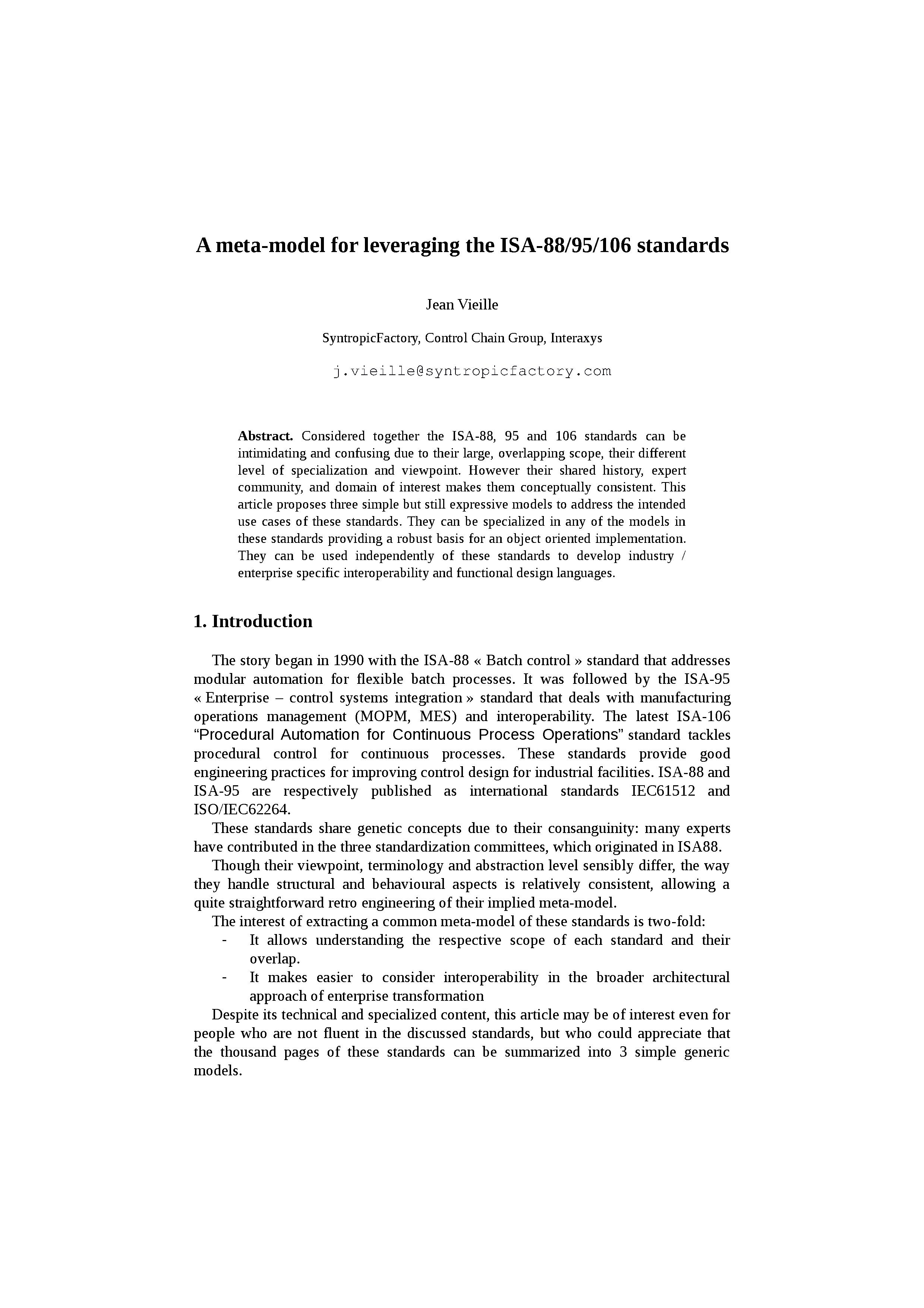 A meta-model for leveraging the ISA-88, ISA-95 and ISA-106 standards