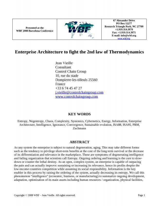 2008 - WBFeu - Enterprise Architecture to fight the 2nd law of Thermodynamics.doc