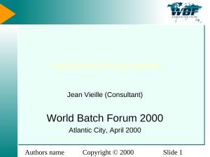 2000 - WBFna - French Batch Forum Update.ppt