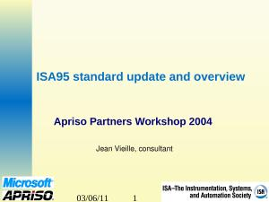 2004 - Apriso - ISA95 standard update and overview.ppt