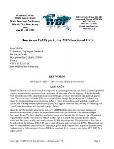 2005 - WBFna - How to use ISA95 part 3 for MES functional URS.doc